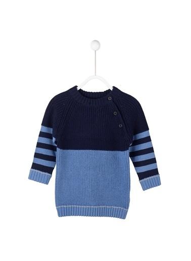 Silversun Kids Baskılı Kollar Çizgili Omuz Yanı Düğme Kapamalı Uzun Kol Bebek Erkek Kazak T 114701 Mavi
